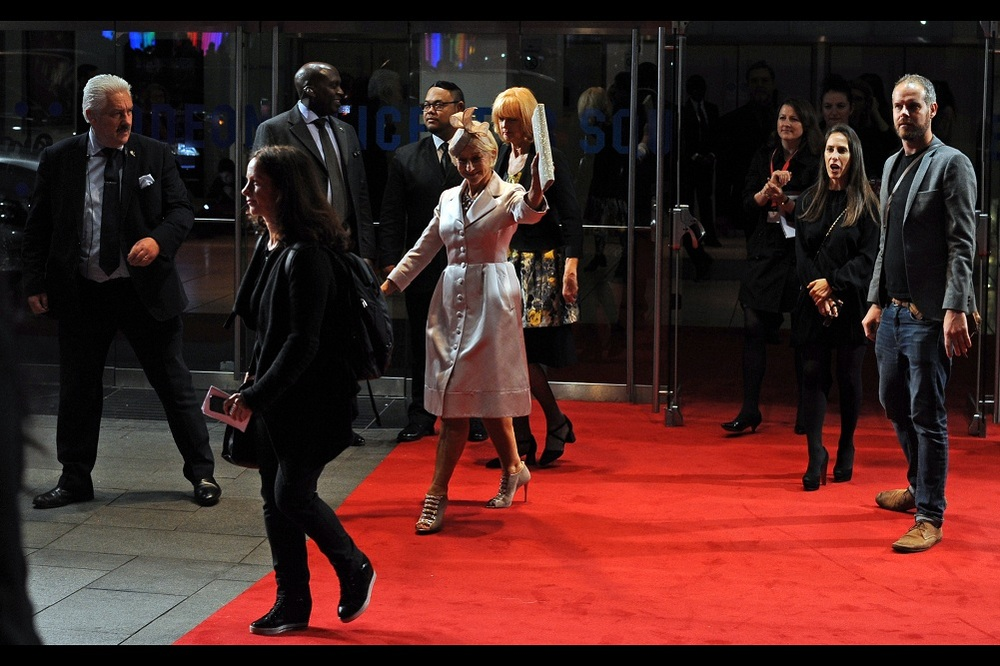 """Catch ya l8tr, beyotches"" - Dame Helen Mirren didn't say that... but I think that's the gist of her gang sign farewell as the stars exit the cinema about 15mins after entering."