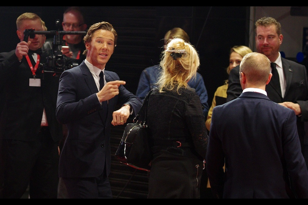 """Of course I'm aware that in the time I spent gesturing my lack of time to come over and sign autographs, I could have come over and signed autographs. That's what makes it so amusing for me"" (Actually, Benedict Cumberbatch did sign some autographs as he exited the cinema 15mins later... just sadly not for me)"