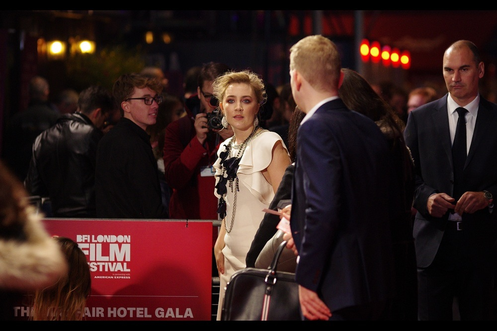 About a second before moving to head into the cinema, Saoirse Ronan looks vaguely in my direction as a couple of fans shout out her name. I feel like I should add some kind of heavenly light filter and a sound file of an angelic choir to accompany this image,