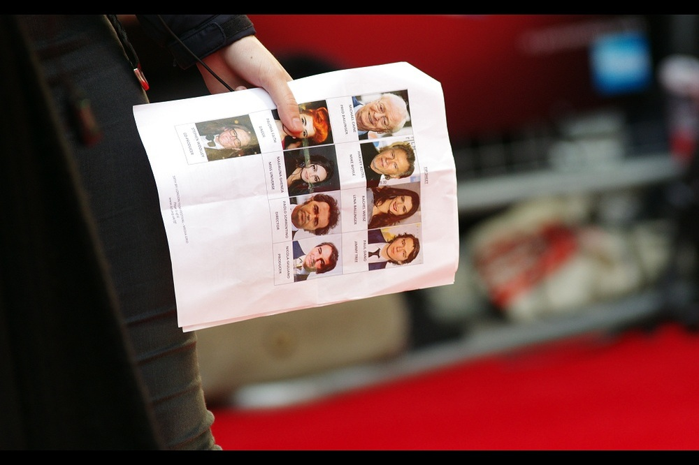 In contravention (again) of all logic and how I could be front row arriving so late, there is a list of attendees and it is a GREAT list! Michael Caine? HARVEY KEITEL?? Rachel Weisz  just two days after I photographed her at the premiere of 'The Lobster'??
