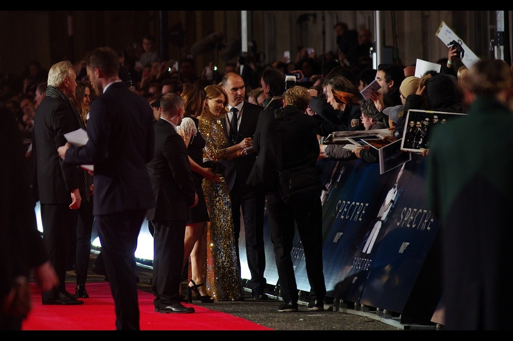 Our second arrival is the other person on the giant movie poster. Léa Seydoux plays the role of (checks imdb) Madeleine Swann in the film. She was also in (and briefly photographed by me at the premiere of)  Mission Impossible Ghost Protocol.