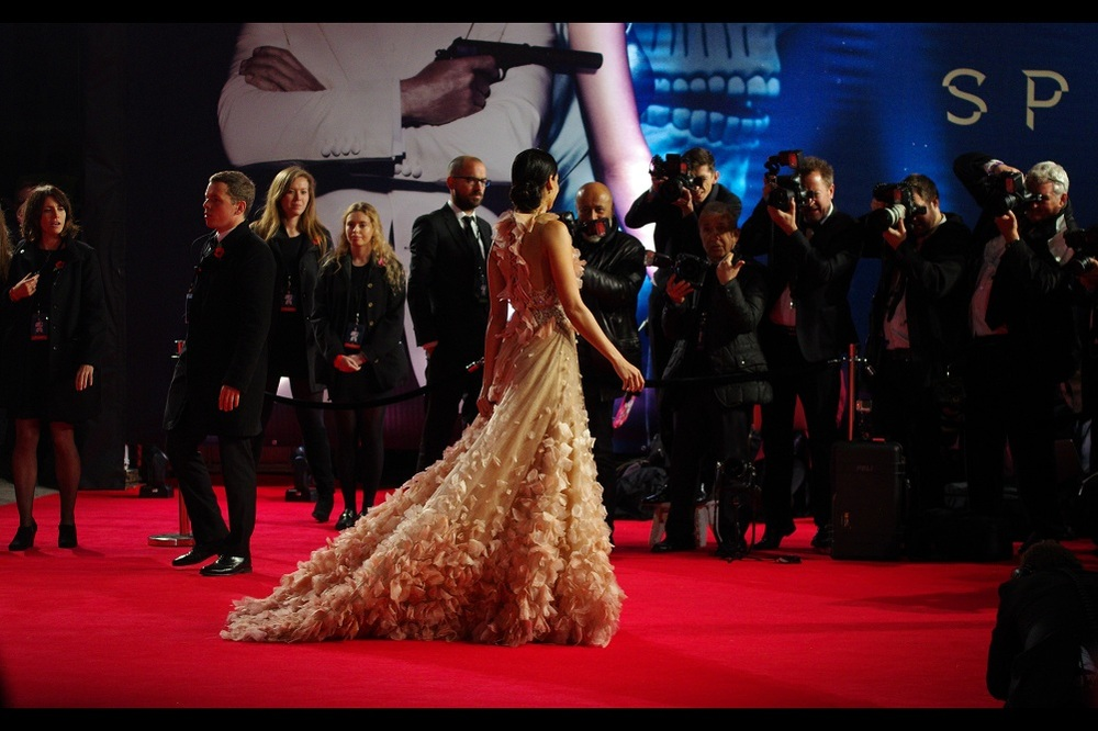 Meanwhile, the impossible has happened. The crowd has briefly been moved from blocking all aspects of the main part of the red carpet. This helpfully coincides with a person being there I can't identify or recognise. The two hundred geese who gave their lives (or who now face a cold winter) for her dress would admit it looks pretty good, though.