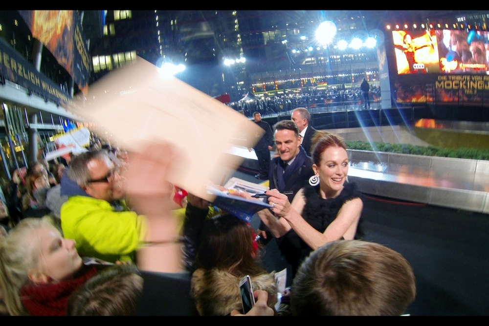 """Is this the right part of the crowd? "". Inasmuch as the Germans around me were all pleasant, polite, civilised and here for all the right reasons, they were also pretty single-minded about stomping over you, me, and your grandma for the right autograph (in a pleasant, polite and civilised way). And we're talking Julianne Moore, here- you should have heard the screams for Josh Hutcherson. And he hasn't even ARRIVED yet."