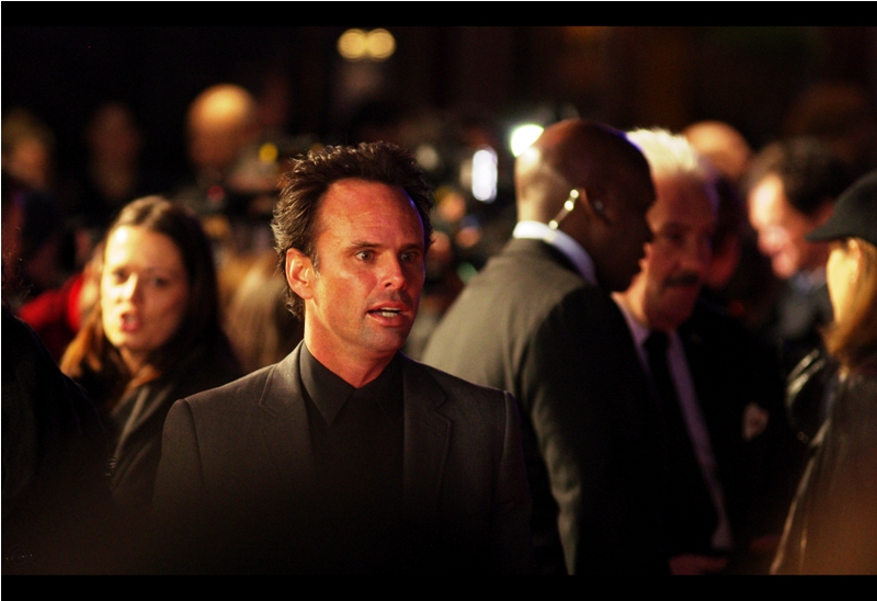 """Predators merch? You want me to sign that?""  Walton Goggins was also in Tarantino's Django Unchained, as well as The Bourne Identity and  ""Cowboys and Aliens""  (whose premiere he didn't attend). But yes, he was in the (I think sadly underrated) attempted reboot of the 'Predator' franchise back in 2010."