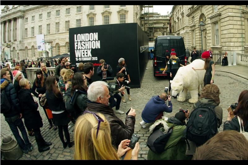 Animatronic Polar Bear? Because London Fashion Week, that's why.
