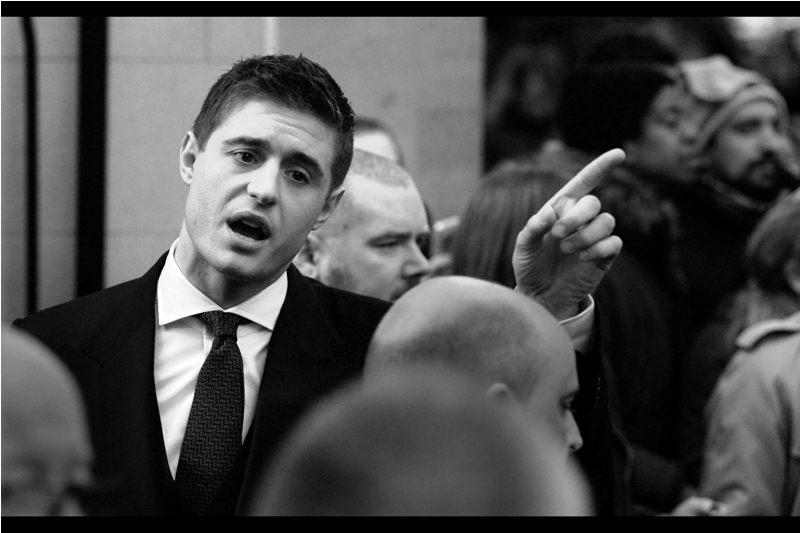 """The guy wearing socks as a beanie is over there. I offered him a four figure sum for it, but he declined"" ( edited to add : he's Max Irons, who among other things was in 'The Woman in Gold (2015) - I've watched The Woman in Gold but I don't remeber him in it... is that bad? Great name, though...)"