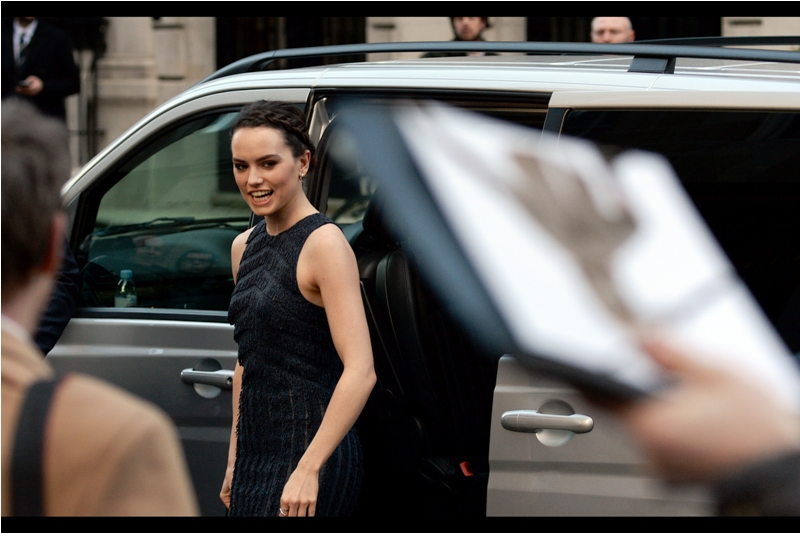 """I don't suppose even one person here brought a Mr Selfridge Box Set for me to sign? Okay, then""  Daisy Ridley is best known for being Rey in the Disney movie-based-on-a-toy-line ""Star Wars"" which you might have heard of."