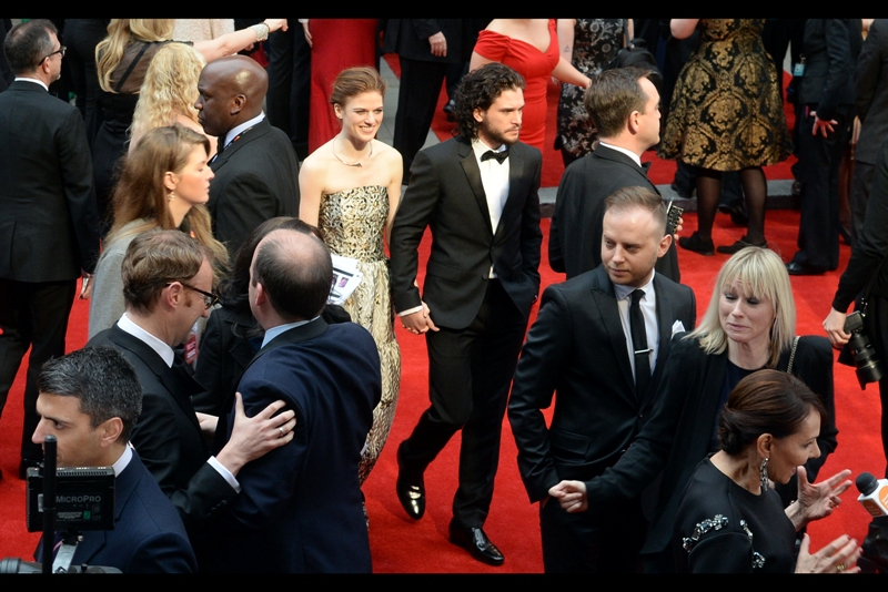 At this point, whether Kit Harington is alive or dead as Jon Snow in Game of Thrones is uncertain, but I think it's pretty cool that his +1 at this event is his character's ex-girlfriend Ygritte from the show.