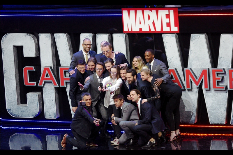 A random fan from the crowd was selected to partake in The World's Most Awesome Selfie. I mean... it is pretty awesome, but without Scarlett Johansson attending?