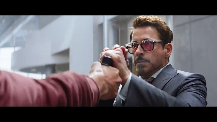 """Wait... you're trying to kill me? In a MARVEL MOVIE?? Oh, right.. you only pulled the trigger once, shot my glasses, and now giving me time for the reaction shot for the trailer. Thanks, bro"""