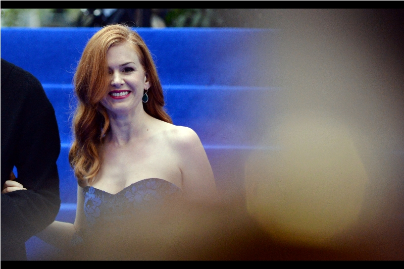 "An early and unannounced arrival - actress Isla Fisher, wife of Sacha Baron Cohen (he's in this movie). I last photographed her at the premiere of ""Grimsby"" earlier this year."