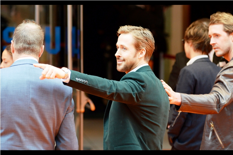 """This is how we're starting the world's longest one-handed conga line outta here!""  - Sadly Ryan Gosling signs but nowhere near me, and elects not to be interviewed as he heads inside the Odeon Leicester Square."