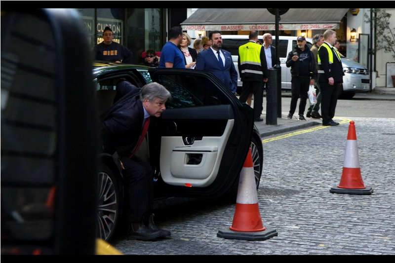 Director Whit Stillman exits his vehicle microseconds before my view of him is blocked by yet another vehicle. I'm sure this happens in Cannes and Hollywood too...