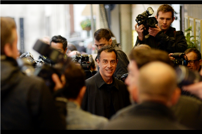 The paparazzi cordon briefly parts to coincidentally allow me to photograph director Matteo Garrone. I don't usually get this lucky. Not with Scarlett Johansson, at any rate.