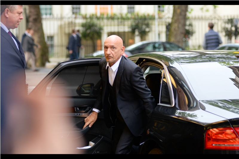 """Are you thinking of not calling me ""Sir""?""  - (Sir) Ben Kingsley has arrived, and exits his car, (Sir) Mercedes."