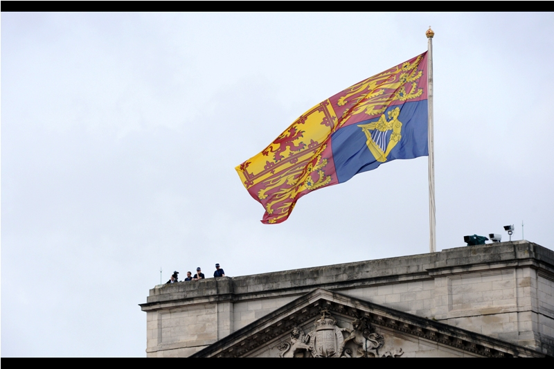 """I think we could run a wind turbine off this flag....""  Curious fact : I'm given to understand when you see the Union Jack flying above Buckingham Palace, that means the Queen is *not* in residence. If it's this flag - then either she is, or she's on her way."
