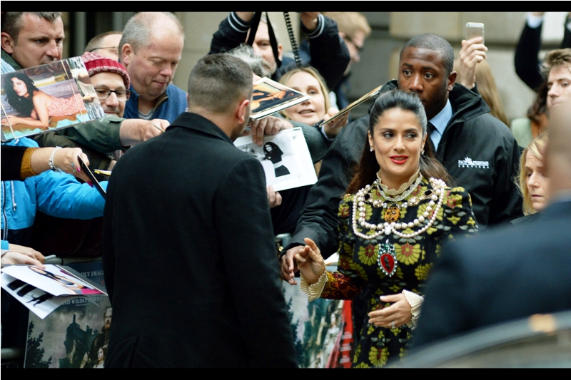 """Three Harry Potter alumni... but check out this necklace!"" - Salma Hayek at the ""Tale of Tales"" premiere"