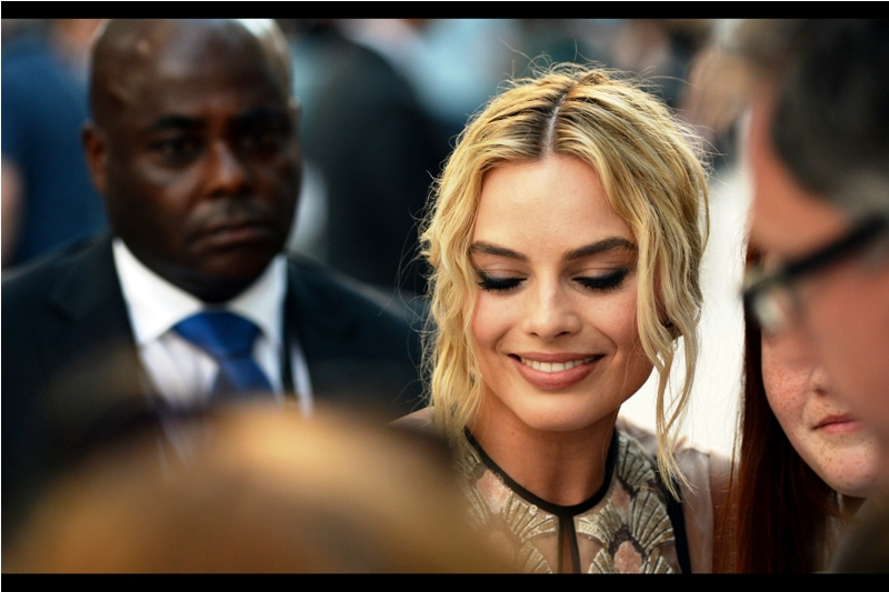 """Six across is 'prevaricate', but that's all I've got time to help you with, I'm afraid"". Margot Robbie was in ""The Wolf of Wall Street"" with Leo Dicaprio (whose premiere I missed) and ""Focus"" with Will Smith (whose premiere I brought the wrong lens for). So up until today my record with photographing her might be described as 'patchy'"