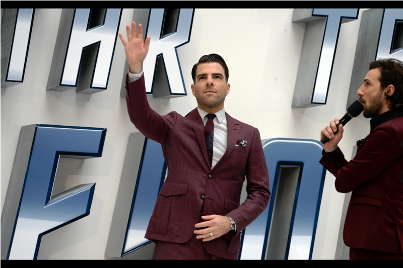 """He plays the Vulcan Spock in the film, so please observe a respectful degree of restraint for Zachary Quinto!!!"""