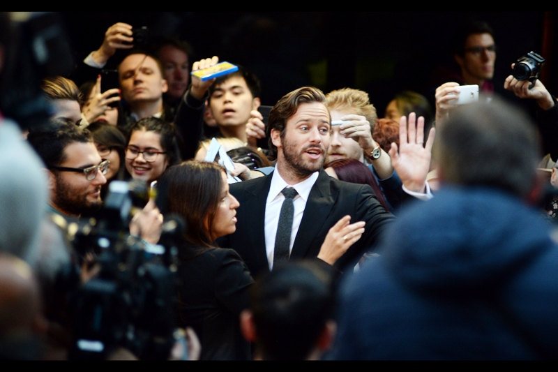 """Guys? This is a classy movie and I can't afford to be seen with you. Peace and Love""  For the second time in just a couple of days, I'm photographing Armie Hammer. (He was  at and in 'Birth of a Nation'  and might actually be in a third film in this festival - the closing gala ""Free Fire"" on Sunday)"