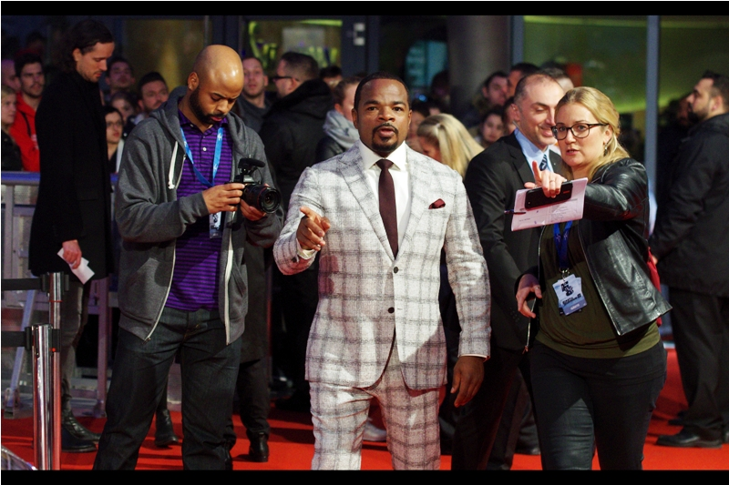 """If you can't give me one of the TWO event lanyards you're wearing, can you at least let me know where I can get ONE?""  - F Gary Gray's suit might be mildly dishtowel-like in design but it provides excellent contrast-detect assistance for my Pentax."