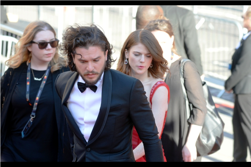 """We can't go over there. Somebody wants me to sign a big black fur coat and I'm worried""  - I photographed Game of Thrones' Kit Harington with Game of Thrones' Rose Leslie at last year's Olivier Awards too, except back at the time the alive-or-dead status of their characters (specifically his) wasn't quite as definitive."