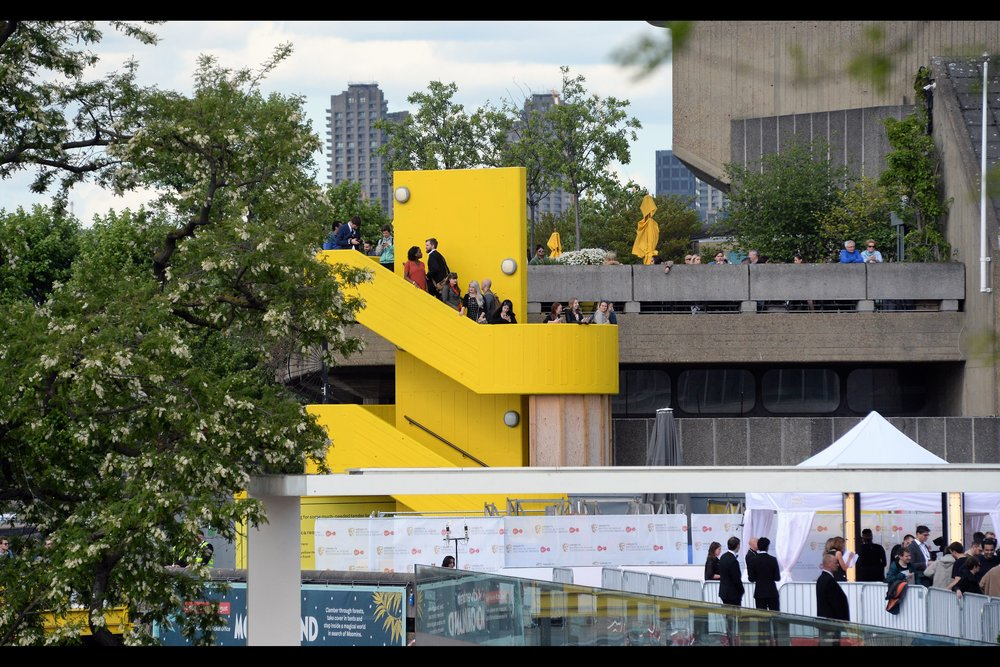 The platform on the yellow staircase is where I shot last year's TV Baftas from, and nobody seemed to mind having me stand there with my ... erm... discreet 70-200mm lens.