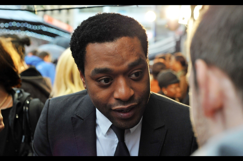 """Well, if it's not me that ends up in Star Wars Episode VII, it's gotta be Thandie, no?""  - actually, no. Thandie Newton ended up not being in Star Wars, or at this movie's premiere. Still, Chiwetel Ejiofor got an Oscar nomination (and Bafta Award) for his portrayal as Solomon Northup in  '12 Years A Slave', whose premiere was a mere few days earlier."