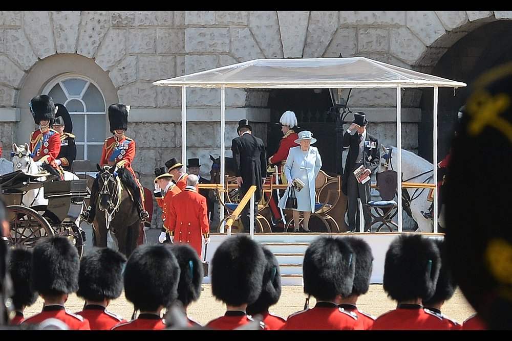 """Well, this isn't inconspicuous at all""  - this is where the Queen sits while (from what I can tell) various troops parade past her, for her approval, consideration, or a positive review on tripadvisor, or instagram likes or something."