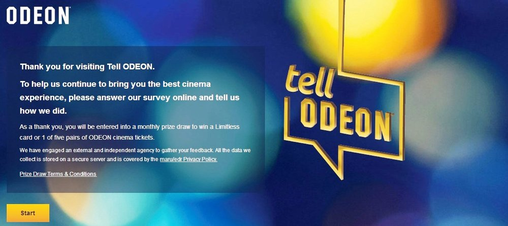 """If you are filling in this survey on a mobile phone while watching a movie in one of our cinemas, we can't stop you from doing that. But from where we're sitting on a server somewhere, know that you have disappointed us very slightly (but thank you for your feedback!!)"" (screengrab : tellodeon.co.uk redirected to survey site)"