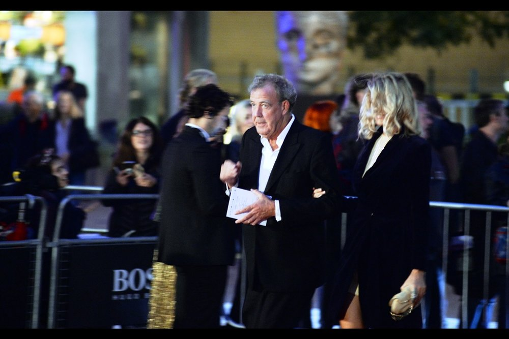 "Former Top Gear Host 3 of 3 (I photographed Richard Hammond but he's small and I couldn't find the photo) Jeremy Clarkson arrives.  (edited to add : their new show ""The Grand Tour"" won him and his co-hosts the ""TV Personalities"" Award on the evening)"