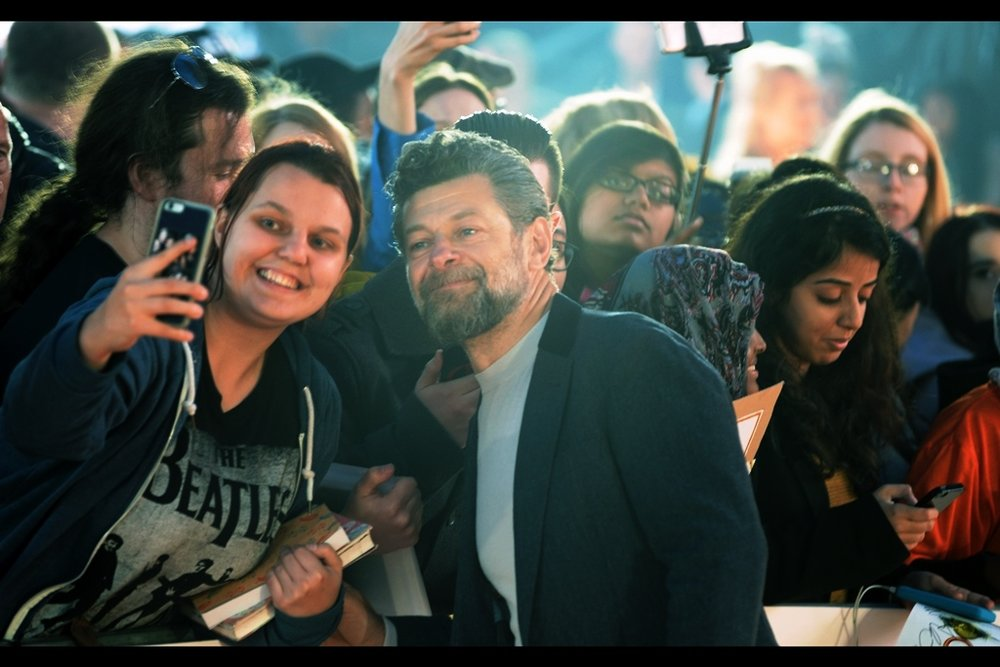 Random attendee : Andy Serkis, best known for being the motion capture (and voice) actor for Gollum in the Lord of the Rings movies, Caesar in the Planet of the Apes movies, and King Kong in the Peter Jackson remake. He does occasionally play human roles... but only occasionally.