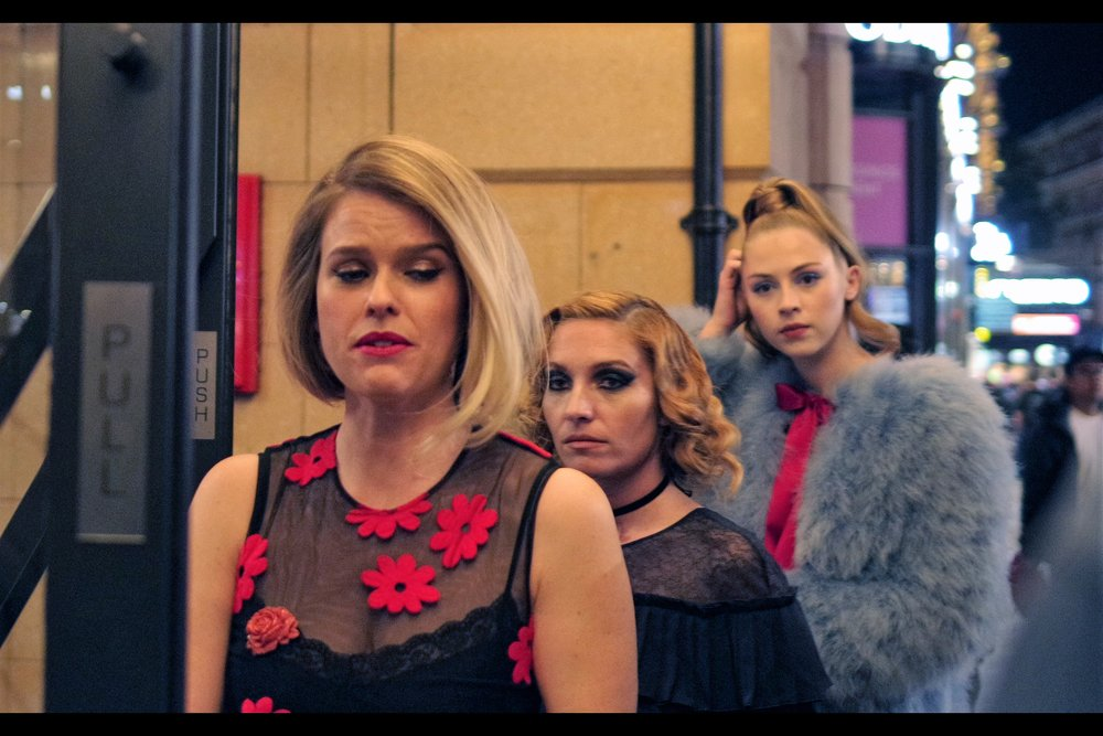 The presence of Alice Eve in the foreground is actually the only plausible excuse as to how I missed both Josephine De La Baume's hairstyle and Hermione Corfield's incredible Blue Furry Coat. (After this photo I sadly reoriented the camera to exclusively photography Ms Eve, subconsciously realising that distracting backgrounds needed to be removed)