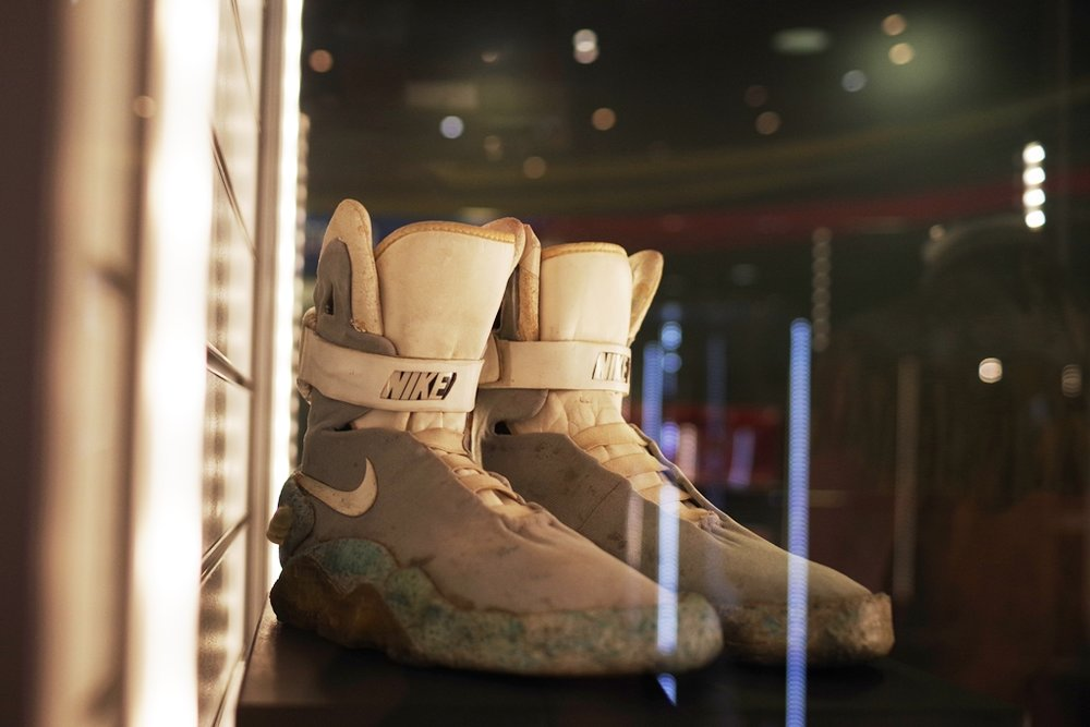 OMG : The Nikes Airmags worn by Marty McFly / Michael J Fox in Back to the Future part II ! (I photographed replica remakes at a London Fashion Week once).   (Winning bid for the Aliens Dropship: £40,000!)