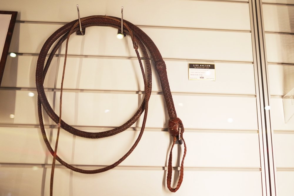 Indiana Jones' Bullwhip. Less moving parts than the Starlord mask for (I'm going to give you a clue) about half the price! (not very well displayed for a prop of this calibre and importance, I would say, knowing nothing of such things!)   (Winning bid for Starlord's Helmet : £110,000) (!!!)