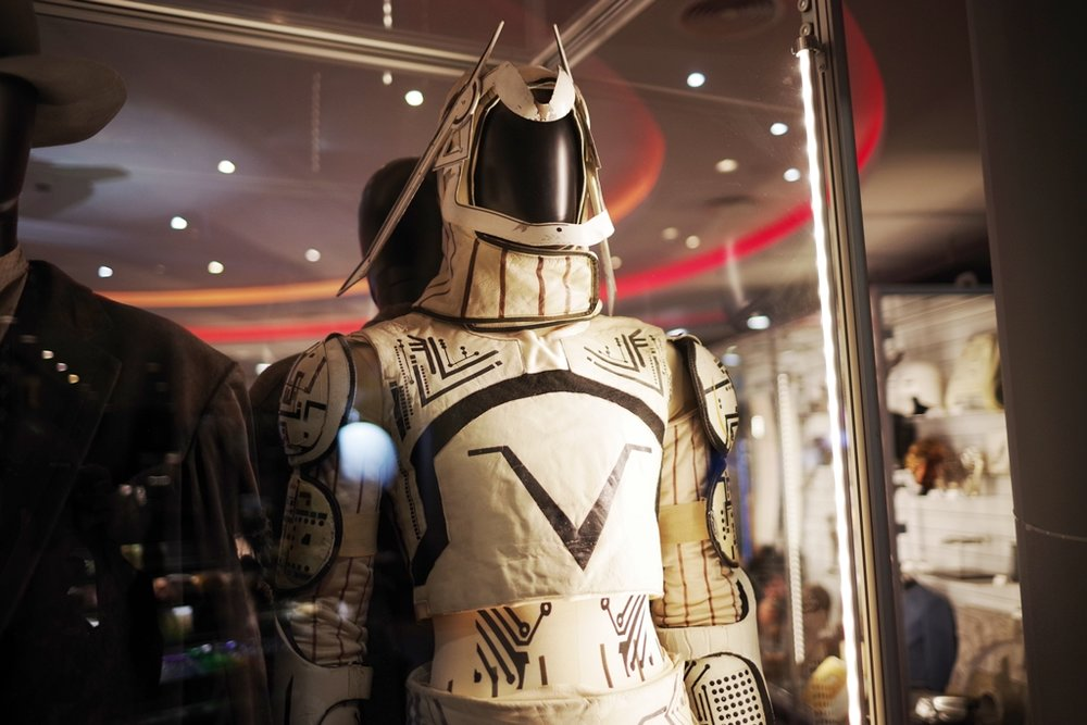 "Made of what appears to be cardboard and leather (?) - a suit from the original ""Tron"" (1982) (The winning bid for the Catwoman costume : £18,000) (and for the Tron Costume it was £70,000!!)"