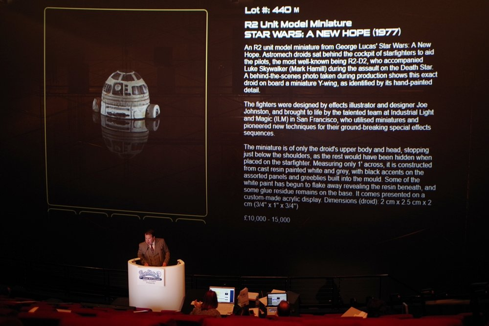 """This model of the head of a droid from Star Wars is less than 2.5cm on any side. I'm saying this because it looks pretty big on an Imax screen and you guys just spent a few weeks salary on SOAP. So be warned.""   It didn't meet its reserve price, which was already pretty damn high!"