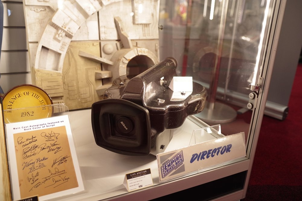 One of two ILM-commissioned cameras used on the last two Star Wars movies, Indiana Jones Trilogy, Back to the Future Trilogy and more. UNSOLD at £190,000 bid. (frankly, I think putting THAT branded lens cap on it (rather than something ILM-branded) is a mistake) (nb. The 2x2 plastic slab in the background, which is a segment of the Death Star used in the original Star Wars had a winning bid of £27,500)