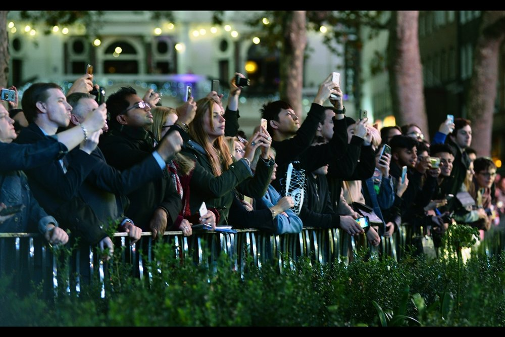 """OMG who are we photographing and are they famous?""  the onlookers in the park have a higher elevation than the crowd in the public pen, but the people in the public pen's second row are holding up their mobile phones so it's not quite as good as spot as it seems."