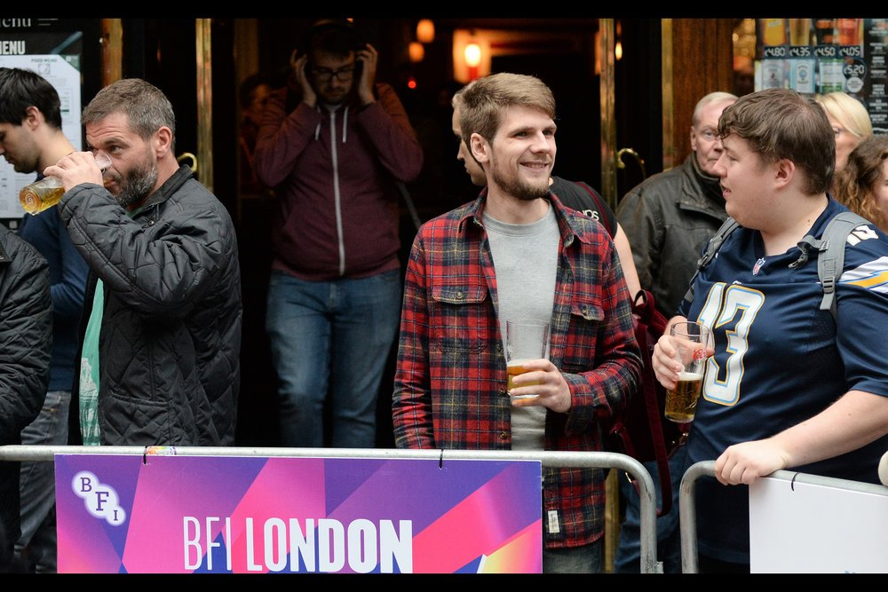 "While I have photographed a premiere with a glass of cider literally beside me on a table (  that was at ""We're the Millers"" back in 2013  ), I can't say I've ever stood at a barrier holding a pint of beer. Or cider."