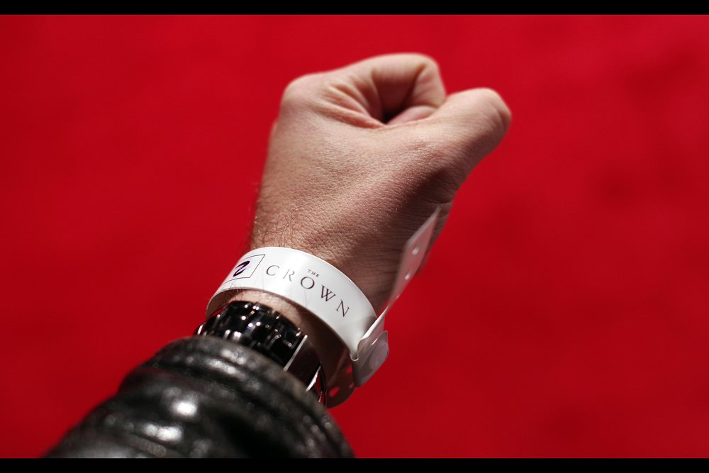 "Due to what can only be described as ""amazing circumstances"" I ended up with White Wristband #2 for this premiere; and due to what can only be described as peanut-headed incompetence I was asked to move from my spot to make room for people let into the pen later with competing Blue wristbands... and I lost my spot to somebody with a worse wristband than me. Well hooray for predictable weirdness,"