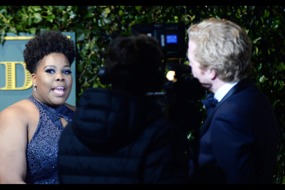 Embarrassed to add later : Amber Riley, who won the award for best musical performance on the night.