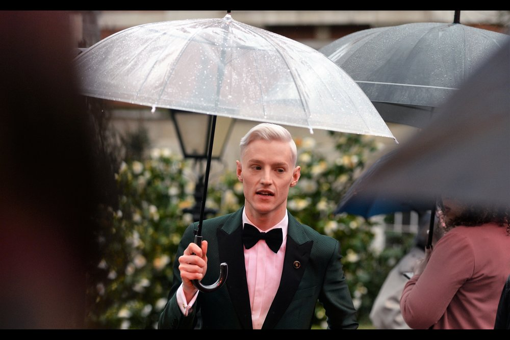 """This umbrella isn't to keep the rain off me : have you seen how light my skin is? It's to protect me from the sun even when it's overcast""  - John McCrea is, conveniently, in the musical Everybody's Talking About Jamie."