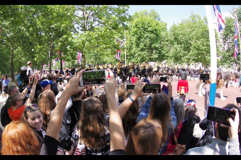 "Position 1 was inside The Park, about halfway up The Mall. You might think taking a small step-ladder to an event is somehow ""cheating"" but given the abandon with which the crowd holds mobile phones aloft, it's barely all I can do in this particular Arms Race."