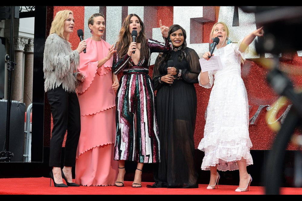 """Having eight women (and no men) in the Oceans team wasn't deliberate, you know. It was just a 1 in 256 coincidence. And what's the likelihood that the extra person in Oceans 9 will be a Man, I hear you ask? Umm... about 1 in 512, I think...""  (But yes, I am aware that the maths for Oceans 12 is pretty heavily outside the 'coincidental' realm by several orders of magnitude)"