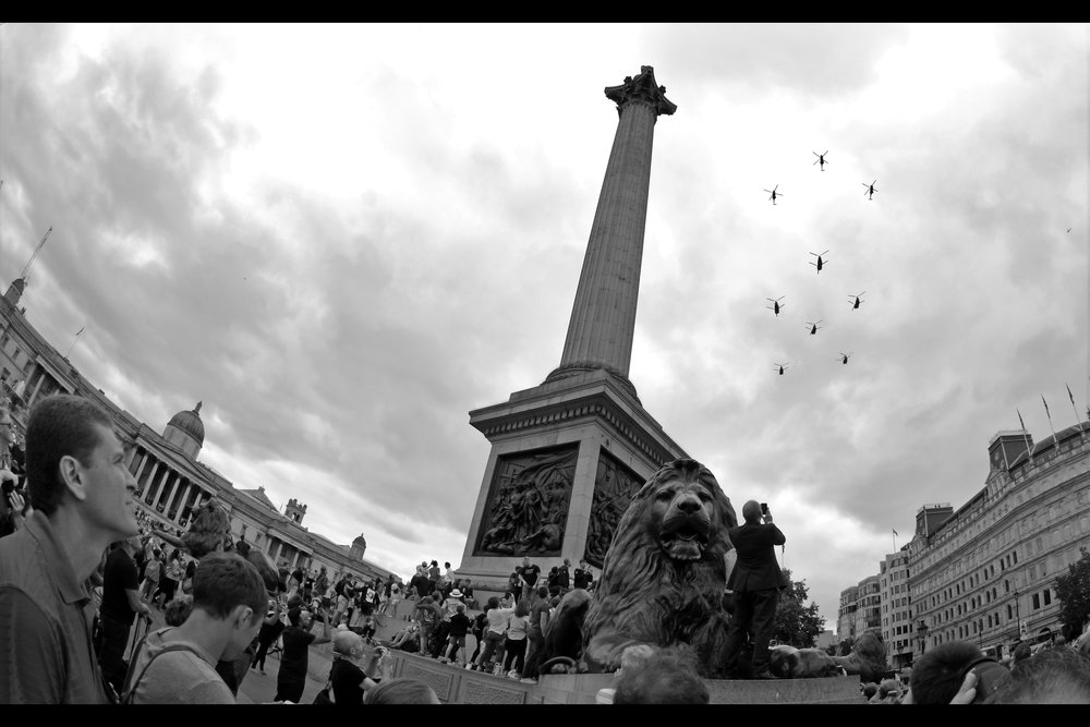 My choice of location : Trafalgar Square. Quite crowded as well, but with lots of airspace, low buildings, no trees... and easier to leave afterwards!
