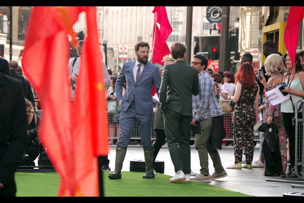 "Iain Morris, wellies with his suit for this premiere, created ""The Inbetweeners"" and also directed    ""The Inbetweeners 2"" movie   , which I watched because I still eventually want to watch every movie I was at the premiere of... and therefore I was obliged by my own insane ""  wait... even the Twilight movies? the Fifty Shades of Grey Movies??  "" rule to do so. Regrets? I've had a few."