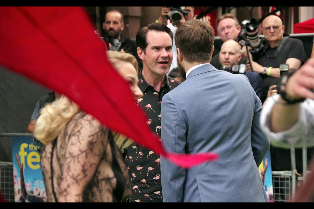 """You looked into Mo's EYES? Don't do that. He'll have you washing his car on weekends if you're not careful. Hypothetically... um.... I mean.....""  Jimmy Carr is a comedian. He came across the carpet to pose with Mo (obviously) but also RE-crossed it to pose with some girls behind me, advising them ""Stay in school and don't do Crack"". Which... comedy aside, is probably pretty good advice."