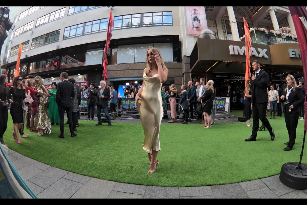 "Kimberley Garner is an entirely appropriate blast from the premiere-past : much like Mo, I haven't seen her at a premiere for years, though she was a mainstay at them for a while. I'm assured that her claim to fame is/was being in ""The Only Way Is Essex"". (Well, that and falling to the charms of the Mighty Mo on several occasions (and again at this one))."