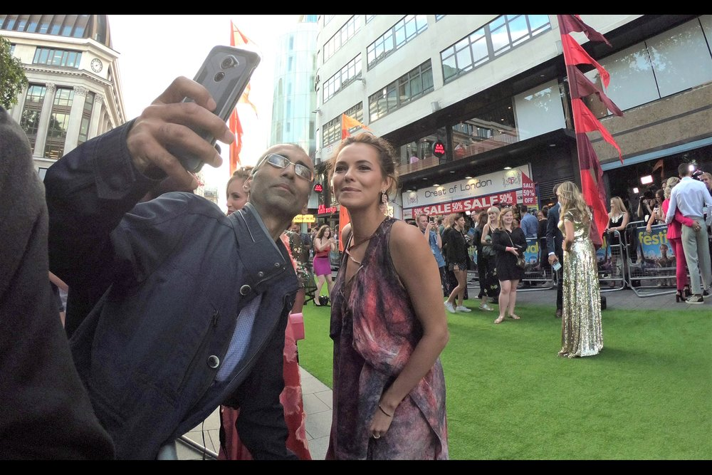 """""""I told the guy with the intense look to beat it... he was scaring me"""".  Kara Tointon poses with one of the most charismatic people I've ever met where wrangling celebrities is concerned."""